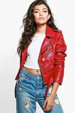 Wine Crop Leather Look Biker Jacket