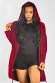 Wine Sequin Angel Wing Hooded Cardigan