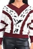 Wine V Neck Vintage Striped Knit Jumper