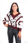 V Neck Vintage Striped Long Sleeve Knit Jumper