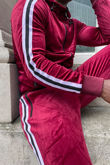 Wine Velvet Twin Side Stripe Hooded Skinny Tracksuit