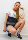 Black Coco Wahine Mesh Overlay T-Shirt Top