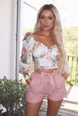 White Floral Milk Maid Long Sleeve Crop Top