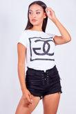 White GG Logo Tee Top