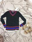 Black Fine Knit Cricket Jumper