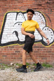 Yellow And Black Ombre Tee Muscle Fit Short Set