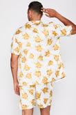 Yellow Printed Shirt And Shorts Set