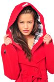 Red Double Breasted Fleece Hood Belted Coat