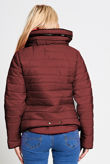 Plus Size Brown Quilted Padded Bubble Puffer Fur Collar Jacket