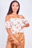 Cream Off Shoulder Floral Crop Top