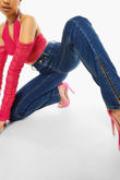 Dark Blue Front Split Slim Flare Leg Jeans