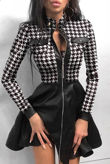 Black Houndstooth Print Zipper Pockets Design PU Dress