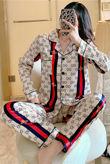 Cream Striped Bee Long Sleeve Satin Pajamas