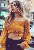 Bardot Shirred Elasticated Crop Top