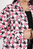 Fuchsia Houndstooth Shacket