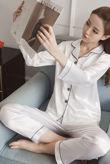White Piping Detail Long Sleeve Satin PJ Set