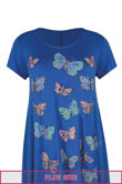Plus Size Royal Butterfly Printed Asymmetry Top