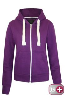 Plus Size Unisex Purple Plain Hoodie