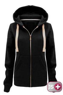 Double Plus Size Black Basic Hooded Jacket