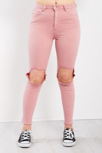 Pink Extreme Knee Ripped Skinny Jeans