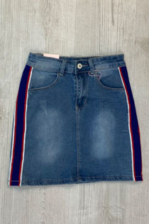 Denim Distressed With Blue Strips Skirt