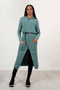 Teal Cable Knit Hooded Longline Cardigan With Belt