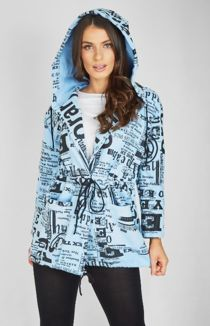 Baby Blue Doodle Slouch Coat