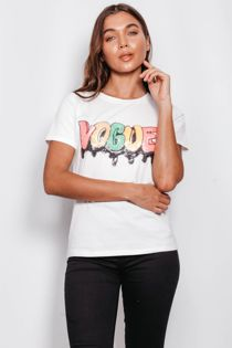 White Sequin Multi Colour Vogue Top