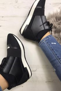 Black Mesh Two Tone High Top Lace Up Trainers