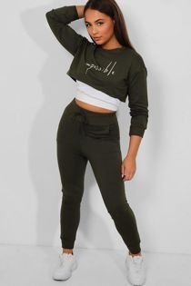 Khaki Slogan Front 3-In-1 Crop Top Lounge Set