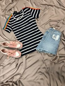 Navy Jersey Striped Perfect Tee