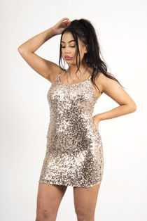 Gold Chain Strap Sequinned Dress
