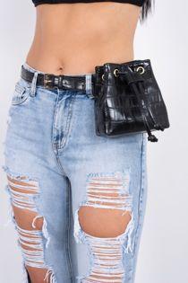 Black Croc Print Belt Bag
