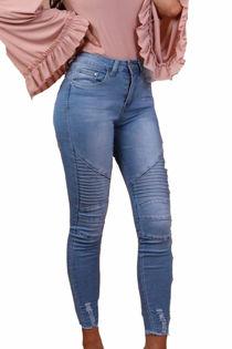Dark Blue Biker Ribbed Skinny Fit Jeans