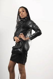 Brown Faux Leather Ruched Cut Out Bodycon Dress