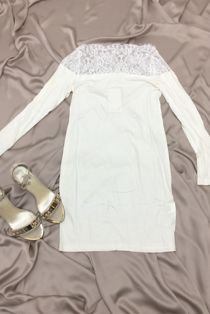 Cream Cotton Blend Lace Trim Midi Dress