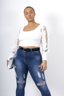 Floral Applique Mesh Sleeve Ribbed Top