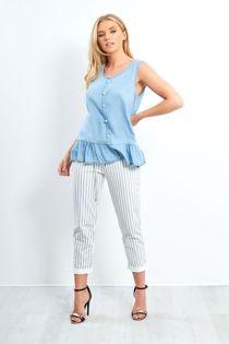 White Stripe Turn Up Hoop Trouser