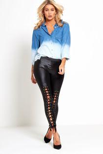 Black Faux Leather Lace Up Leggings