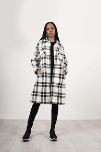 Black And White Check Longline Shacket