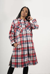 Red With Multi Check Longline Shacket