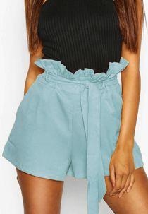 Aqua PU High Waist Paper Bag Shorts