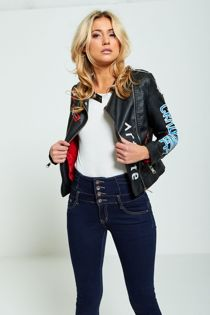 Artiste Print PU Leather Biker Jacket