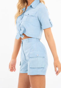 Aqua Utility Pockets Crop Shirt and Short Co-ord Set