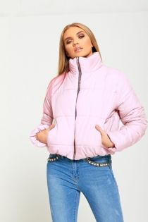 Baby Pink Cropped High Neck Puffer Jacket