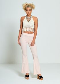 Baby Pink Flared Leg Trousers