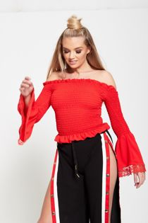 Bardot Elasticised Ruffled Sleeve Top