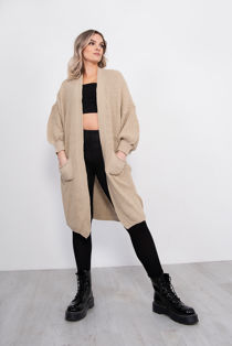 Beige Balloon Sleeve Pocket Front Knitted Cardigan