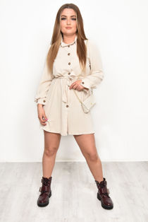 Belted Shirt Dress with Matching Mini Chain Cross Body Bag