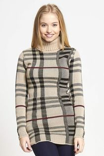 Beige Cowl Neck Long Sleeve Tartan Knitted Dress